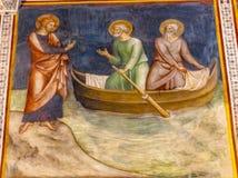 告诉的耶稣彼得中世纪壁画教会圣吉米尼亚诺托斯卡纳 库存照片
