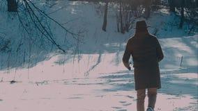 呢帽和外套的一个人进来冬天森林 棕色帽子被做毛毡和一件棕色外套 影视素材