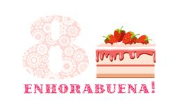 周年问候, 8年,草莓蛋糕,西班牙语,白色,桃红色,传染媒介 库存例证