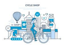 周期商店 购买物品,预定,付款,交付,对估计物品 库存例证