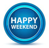 周末愉快眼珠蓝色圆的按钮 库存例证