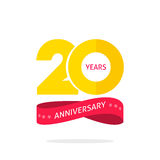 20年周年商标模板,与丝带的第20个周年象标签 免版税库存照片