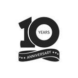 10年周年图表传染媒介象,第10个年生日商标标签 免版税库存照片