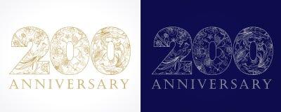 200周年葡萄酒金黄和银色数字 库存照片