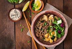 味噌和soba汤面 免版税库存图片