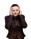 呼叫中心坚硬有妇女工作 免版税库存照片