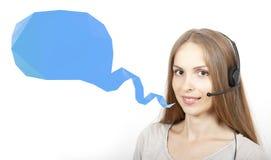 呼叫中心妇女和演讲泡影 免版税库存照片