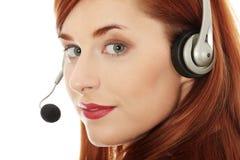 呼叫中心妇女 免版税图库摄影