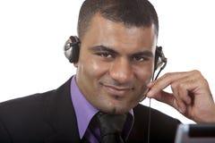 呼叫中心愉快的耳机运算符 免版税库存图片