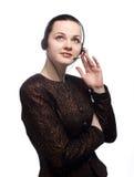 呼叫中心有妇女工作 免版税库存照片