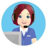 呼叫中心运算符在工作 在空白背景 与医疗热线服务电话操作员佩带的紧急概念 皇族释放例证