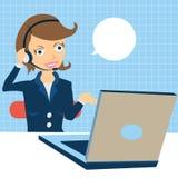 呼叫中心运算符在工作 库存例证