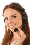 呼叫中心运算符纵向 免版税图库摄影