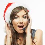 呼叫中心运算符 妇女白色背景画象 圣诞老人Ch 库存图片