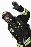 呼吸器官的消防队员打手势得好 免版税库存图片
