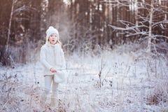 呼吸在步行的逗人喜爱的小女孩在冬天结冰的森林里 免版税图库摄影