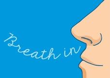 呼吸在词的动画片鼻子 免版税库存照片