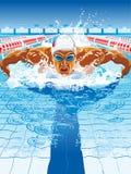 呼吸的盖帽的动态和适合的游泳者执行蝶泳 库存照片