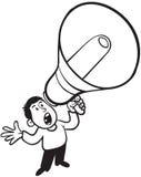 呼喊与扩音机的人 免版税库存照片
