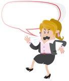 呼喊与讲话泡影的女实业家伙计 免版税库存图片