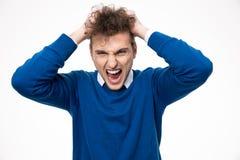 呼喊和接触他的卷发的人 免版税库存图片