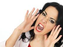 呼喊在愤怒的一个恼怒的愤怒的沮丧的少妇的画象 免版税图库摄影