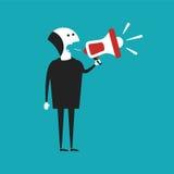 呼喊在扩音机在平的动画片样式的传染媒介概念的商人 向量例证