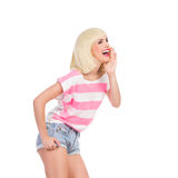 呼喊的白肤金发的妇女 免版税图库摄影