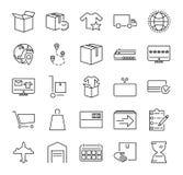 命令履行传染媒介例证象汇集 关于网上购物,送货业务和包装的被概述的pictorgrams 向量例证