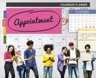 任命计划计划者的日程表做名单概念 库存照片