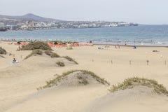 咆哮在大加那利岛的Maspalomas和沙丘的开始 免版税库存图片