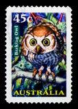 咆哮猫头鹰Ninox connivens,夜的动物serie,大约1997年 库存图片