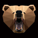 咆哮的熊面孔 低多样式 库存例证