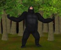 咆哮隆隆响在森林例证的大猩猩 免版税库存图片