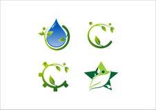 水和不伤环境的生态星传染媒介商标 免版税库存照片