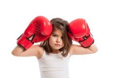 年轻和哀伤的拳击手女孩 图库摄影