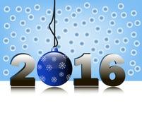 2016年和圣诞节球 库存例证