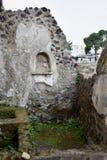 洞穴和墙壁,赫库兰尼姆考古学站点,褶皱藻属,意大利 免版税库存照片