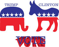 驴和大象标志 也corel凹道例证向量 库存图片