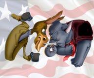 驴和大象 库存例证
