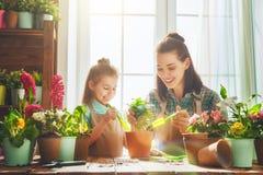 和女儿参与从事园艺妈妈 免版税库存图片
