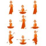 和尚卡通人物用不同的姿势集合,橙色长袍的修士,祈祷,思考,实践的瑜伽 向量例证