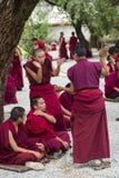 和尚的辩论的实践ï ¼ Œa修士拍手,猛烈辩论,西藏 免版税库存照片