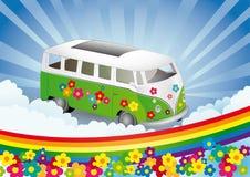 和平与爱情减速火箭的有篷货车 免版税库存照片