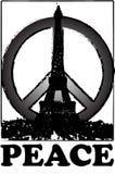 和平和孑然巴黎葡萄酒难看的东西样式的 免版税库存照片