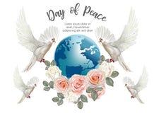 和平天,与世界与玫瑰,传染媒介例证的鸽子 免版税库存照片