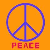 和平标志象传染媒介在橙色背景平的设计传染媒介的友谊和平主义 免版税库存照片