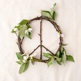 和平标志,自然材料-花,叶子,在组织白色背景的木棍子的标志 免版税库存照片