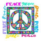 和平标志 明亮的刺绣和letteringing 库存图片