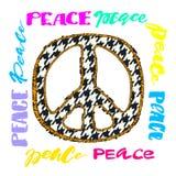 和平标志 明亮的刺绣和letteringing 免版税库存照片